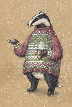 winter has arrived. Badger Illustration, Illustration Noel, Winter Illustration, Christmas Illustration, Illustrations, Christmas Drawing, Christmas Art, Color Pencil Art, Nouvel An