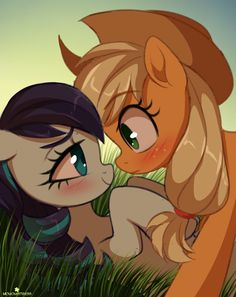 Roughhousing with your childhood crush can lead to some tension. - Tagged: mlpfim, my litte pony friendship is magic, rarajack, coloratura, applejack, MomoMistressArt.