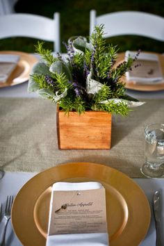 rosemary and lavender centerpiece