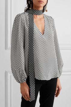 Black and white silk-crepe Rixo - Moss blouse