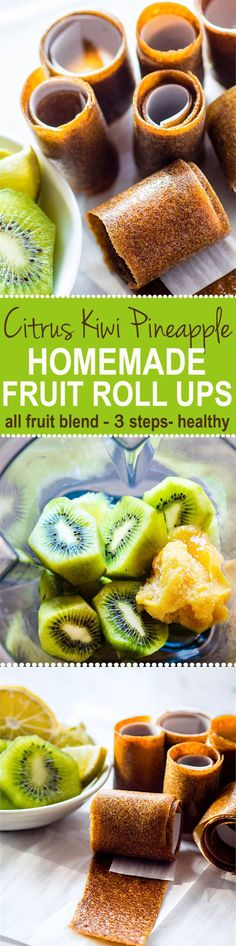 Super Simple and Healthy Citrus Kiwi Pineapple Homemade Fruit Roll Ups! Thesehomemade fruit roll ups arean awesome snack for kids, adults, and active folk who need real food fuel! Homemade fruit rolls ups you can make in the dehydrator or oven. Real fru