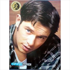 Boyzone. Pin up poster Stephen in check shirt up close Top Of The Pops Magazine