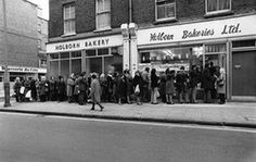 Three day week: A queue outside Holborn waiting for bread during the industrial…