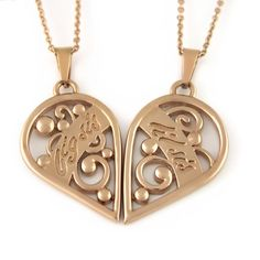 "Each of the Sister Necklaces consists of a pendant and 18"" chains.The pendants present two halves of the heart and together they make a perfectly shaped whole heart. Such a beautiful set can become a charming symbolic gift."