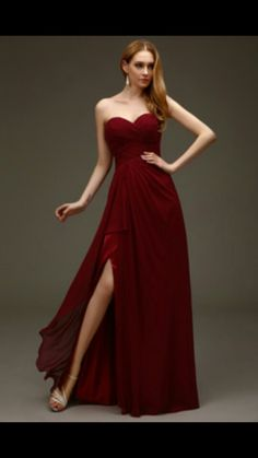 Beautiful Strapless Red Prom Dress with Leg Slit Would be gorgeous with some dark eyeshadow and deep red lipstick