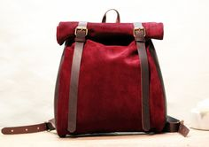 Red Suede/ Oiled leather roll backpack by SamakLeder on Etsy