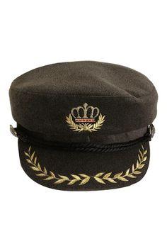 17507da29d9 Buy Unisex Sailors Navy Captain Boating Hat Cap Adult Fancy Dress Dark Grey  Adult online at