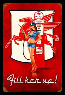 Large vintage style metal sign featuring the Mobil Gas attendant pin up girl with the Mobil Pegasus logo. A great gas station collectible for the Mobil Gas fan. Old Gas Pumps, Vintage Gas Pumps, Vintage Advertisements, Vintage Ads, Vintage Posters, Mode Pin Up, Up Auto, Pompe A Essence, Garage Art