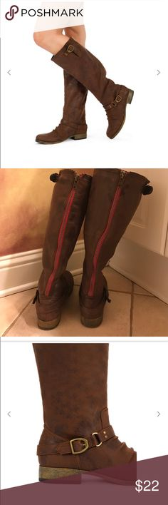 Just FAB Bryce Boot barely worn Perfect distressed faux leather boyish boot even with feminine outfits. Barely worn comfy size 8.5 Hardware and low stacked heel just fab Shoes Heeled Boots