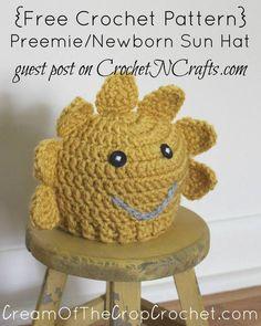 Free crochet pattern: Preemie/Newborn Sun Hat Pattern by Cream Of The Crop Crochet for CrochetNCrafts