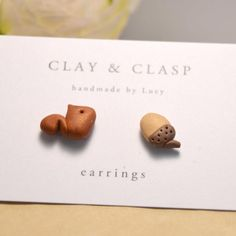 $20.00 Squirrel and Acorn Earrings beautiful handmade polymer clay jewellery by Clay and Clasp by clayandclasp on Handmade Australia