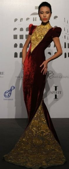 Guo Pei red and gold gown  Guo Pei couture