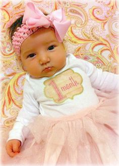 Monthly Onesie Baby Stickers - Brianna - Pink and Tan Scalloped Elegant Shaped - Great Baby Shower Gift for Girls. $9.00, via Etsy.