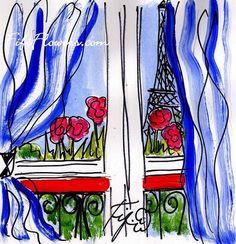 Striped Drapery Hint of Eiffel by Fifi Flowers