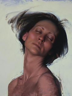 Artist: Daniel Sprick, oil on board, detail {figurative realism woman portrait painting}