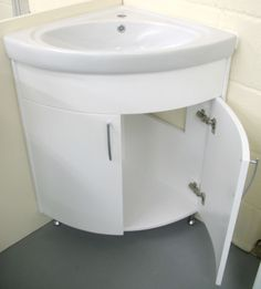 Furniture Incredible Bathroom Sink Corner Units With Curved Panel Cabinet  Door Using White Laminate Sheets And