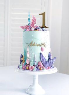 Little Mermaid Birthday Cake, Little Mermaid Cakes, Pretty Birthday Cakes, Baby Birthday Cakes, Little Girl Cakes, Cake Baby, 7th Birthday, Girly Cakes, Cute Cakes