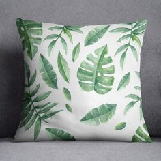 Green leaves pillow cover, Watercolor technique, 20x20, 16x16, Palm tree decor, Nature, Tropical, Gift, Minimalistic, Cushion, Throw pillow, Palm Tree Decorations, Jungle Safari, Watercolor Techniques, Green Leaves, Palm Trees, Pillow Covers, Tropical, Minimalist, Cushions