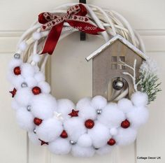 BLIZZARD POMPON XMAS CHRISTMAS WREATH WHITE RED HANDMADE SHABBY CHIC COUNTRY in Home, Furniture & DIY, Home Decor, Dried & Artificial Flowers | eBay