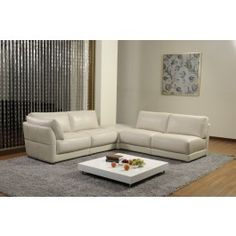 K8085 Modern White Leather Sectional Sofa - 2999.0000
