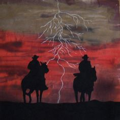 Ghost Riders art quilt by Cuppi Duke.  She hand-dyed fabric to look like the storm and used textile paint for the lightning, then added the silhouettes.