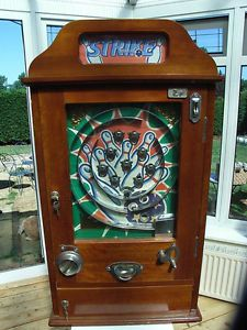 "vintage penny arcade | Details about ""Strike"" Allwin antique style penny arcade slot machine"