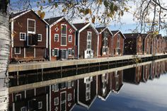 Wooden houses in the centre of Hudiksvall in Sweden - Hudiksvall Sweden by… Places Around The World, Around The Worlds, Beautiful Homes, Beautiful Places, Scandinavian Architecture, Swedish House, Swedish Style, World View, Fishing Villages