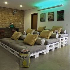 Pallets for home theater seats.