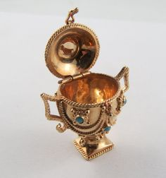 Urn Mechanical 10 Karat Gold Charm For Bracelet by SilverHillz