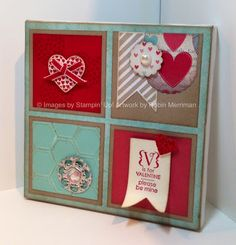 Altered One Spot canvas - Using More Amore Designer Series Paper, Hearts - a - Flutter stamps and Framelits and lots of little touches. Fun and easy!