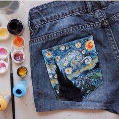 The Starry Night Vincent van Gogh inspired shorts. Painted shorts, casual style, street style.