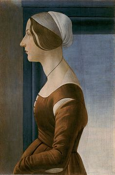 Sandro Botticelli (1444/45-1510) Portrait of a Woman Panel, 61 x 4o cm Florence, Palazzo Pitti, Galleria Palatina There are several assumptions concerning the identity of the young woman (Simonetta Vespucci, Clarice Orsini, Fioretta Gorini etc.). The picture was partly repainted. The sleeve of the robe covers the left hand in a very unnatural way. by petrus.agricola, via Flickr
