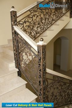Iron Stair Railing, Balcony Railing, Building Exterior, Building Facade, Laser Cut Aluminum, Building An Addition, Exterior Cladding, Steel Panels, Stairways