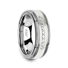 ARGENT Tungsten Wedding Band with Raised Center & Brushed Silver Inlay and 9 White Diamonds Mens Diamond Wedding Bands, Tungsten Wedding Bands, Wedding Men, Wedding Ideas, Dream Wedding, Wedding Venues, Wedding White, Wedding Cake, Wedding Planning