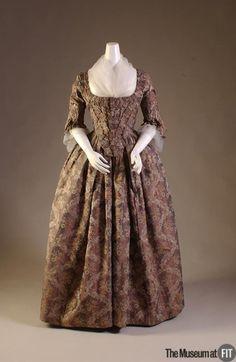 Iridescent Silk Brocade Robe a la Française, ca. 1760via FIT