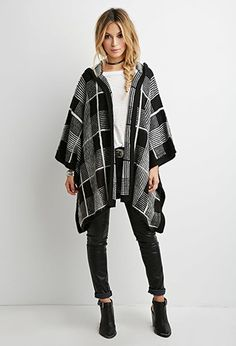 Hooded Plaid Poncho | Forever 21 Canada