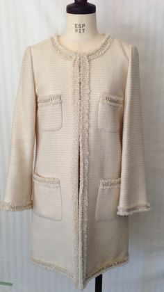 IENA ivory no collar long jacket