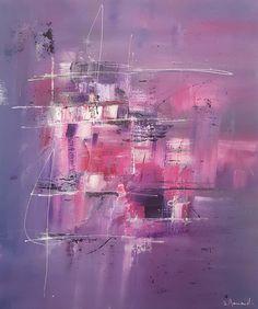 Peinture moderne acrylique Bleu Rose Violet Blanc Noir