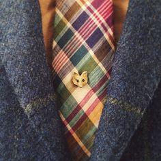 plaid tie, wool blazer, golden fox tie pin...