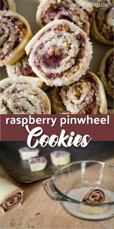 Raspberry Pinwheel Cookies - an easy christmas pinwheel cookie recipe made by rolling up dough filled with raspberry jam and dipping the cookies in sugar #cookies #raspberry