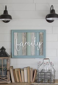 This frame has been painted turquoise and slightly distressed. The inside is made of with reclaimed moldings and cedar as a backdrop for our white family cutout. Since these are made from reclaimed products they are not designed to be perfect. They may have imperfections I like to call added character. The moldings fit into the frame, some may stick out a little from the frame. Each frame has a wire for hanging. Each sign is one of a kind and includes one of our cutouts. The outer edge…