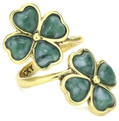 Lucky Brand Green Clover Wrap Ring, Size 7: Jewelry: Amazon.com