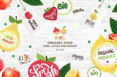 Organic food labels and logos by Magic & Dreams on @creativemarket