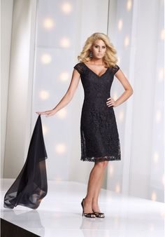 [$185.00] Lace V-Neck A-Line Simple Knee Length Mother of The Bride Dress with Cap Sleeves