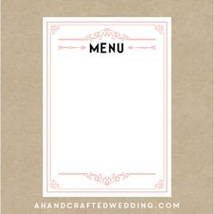 DIY Blush Pink Menu Template