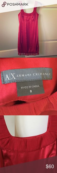 Like new Armani Exchange red satin bubble dress Gorgeous perfect condition mini dress in sexy red satin with crepe straps. Super flattering without being too revealing and very comfortable to wear. And the dress has pockets! Armani Exchange Dresses