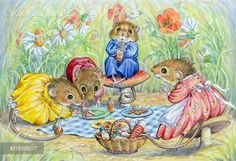 PortForLio - Mouse picnic - three young mice and mother