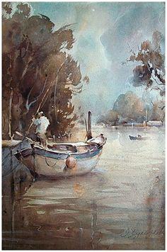 الصياد : لوحة رائعة بألوان الماء :: Dusan Djukaric - Watercolor, Fisherman