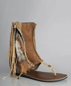 Chestnut Kythira Feather-2 Gladiator Sandal - by  koolaburra - to bad they're $102 and change!!
