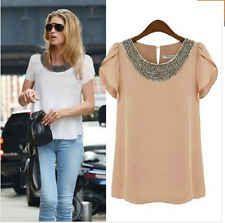 New Fashion Womens Ladies Chiffon Short Sleeve T Shirt Casual Tops Beads Blouse